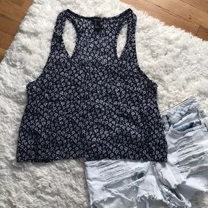 Blue tank top with white flowers